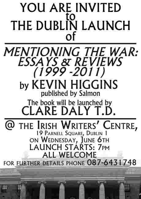 Clare Daly T.D. to launch Mentioning The War by Kevin Higgins in Dublin