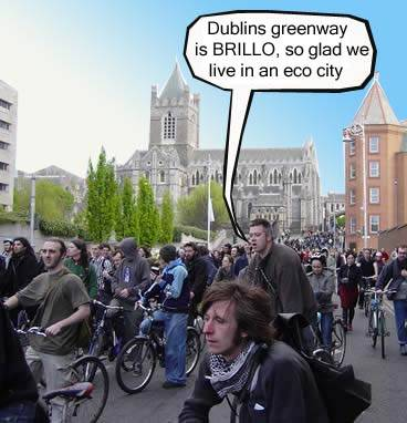 on our bikes, sep 22 : state of emergency, attemting to make the dream of dublin as an eco city a reality
