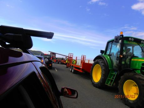 A traffic jam on the public road as IRMS blocks the road once again to move their equipment
