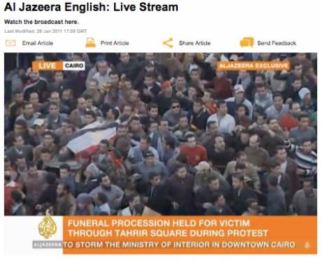 Al Jazeera and other media played a huge part (some of them were also also arrested and beaten)