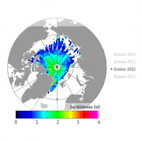 Autum sea Ice thickness - 2012