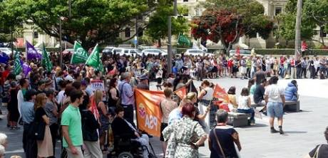 A section of the NZ, Wellington protest. Src wsws.org