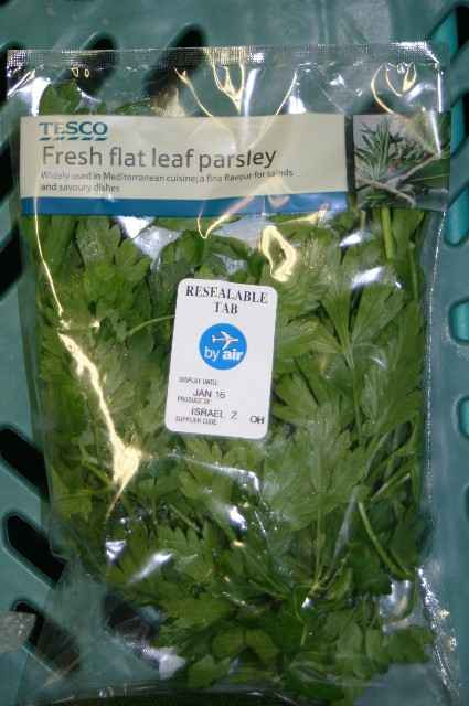 Tesco airlift parsley from apartheid Israel - no environmental or human cost too high