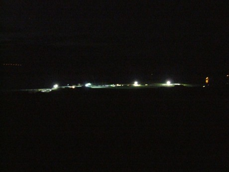 Shell compound 1am Tues. morning - using light to dominate space. Shell's totalitarianism in Co. Mayo