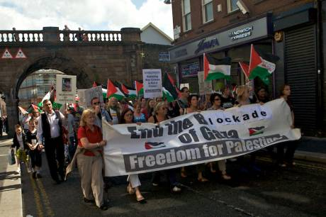 Protest at Israeli massacre on Aid Flotilla: the march lead by the Raytheon-9 Women in Derry's City centre.