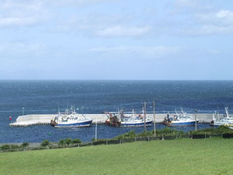 Port Oriel Harbour viewed from the approach road from Clogherhead village.