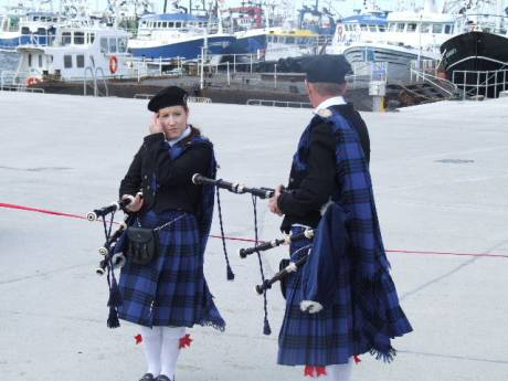 Two pipers provided the music.