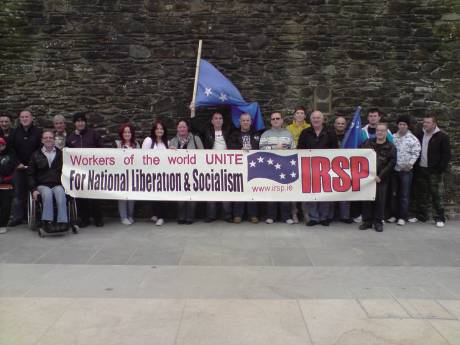 IRSP Banner at Mayday demonstration, Derry 2010