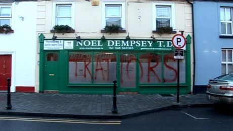 TRAITORS - Minister for Transport Noel Dempsey's constituency office in Trim, Co Meath, was vandalised