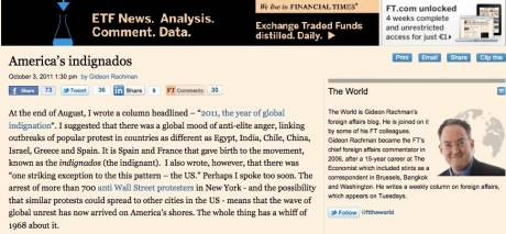 Whole thing has a whiff of 1968 about it... FINANCIAL TIMES on America's indignados