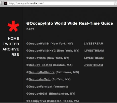 Livestreams are up for 10+ cities - http://t.co/BeREIPVH #occupywallstreet at http://occupyinfo.tumblr.com/