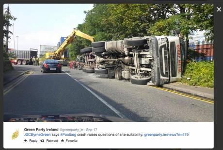 A pic of the overturned truck en route to Poolbeg, where the incinerator will be. If this incinerator goes through, there will be 250 toxic carrying trucks DAILY driving to and from Poolbeg into our city streets, narrow and small, with potential to tip to