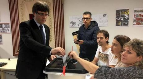 President of Catalonia,  Carles Puigdemont casts his vote.