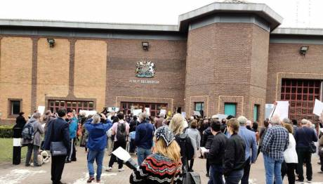 Protesters march towards the Belmarsh Prison entrance