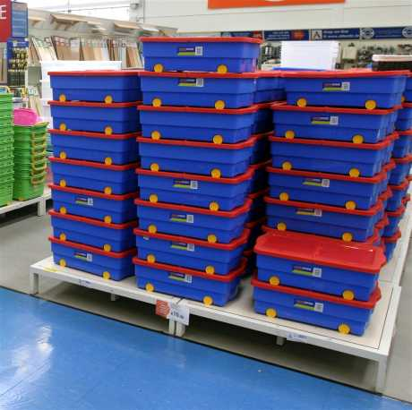Stacks of Keter storage containers